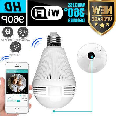 360° Panoramic 960P SPY Hidden wifi Camera Light Bulb Home