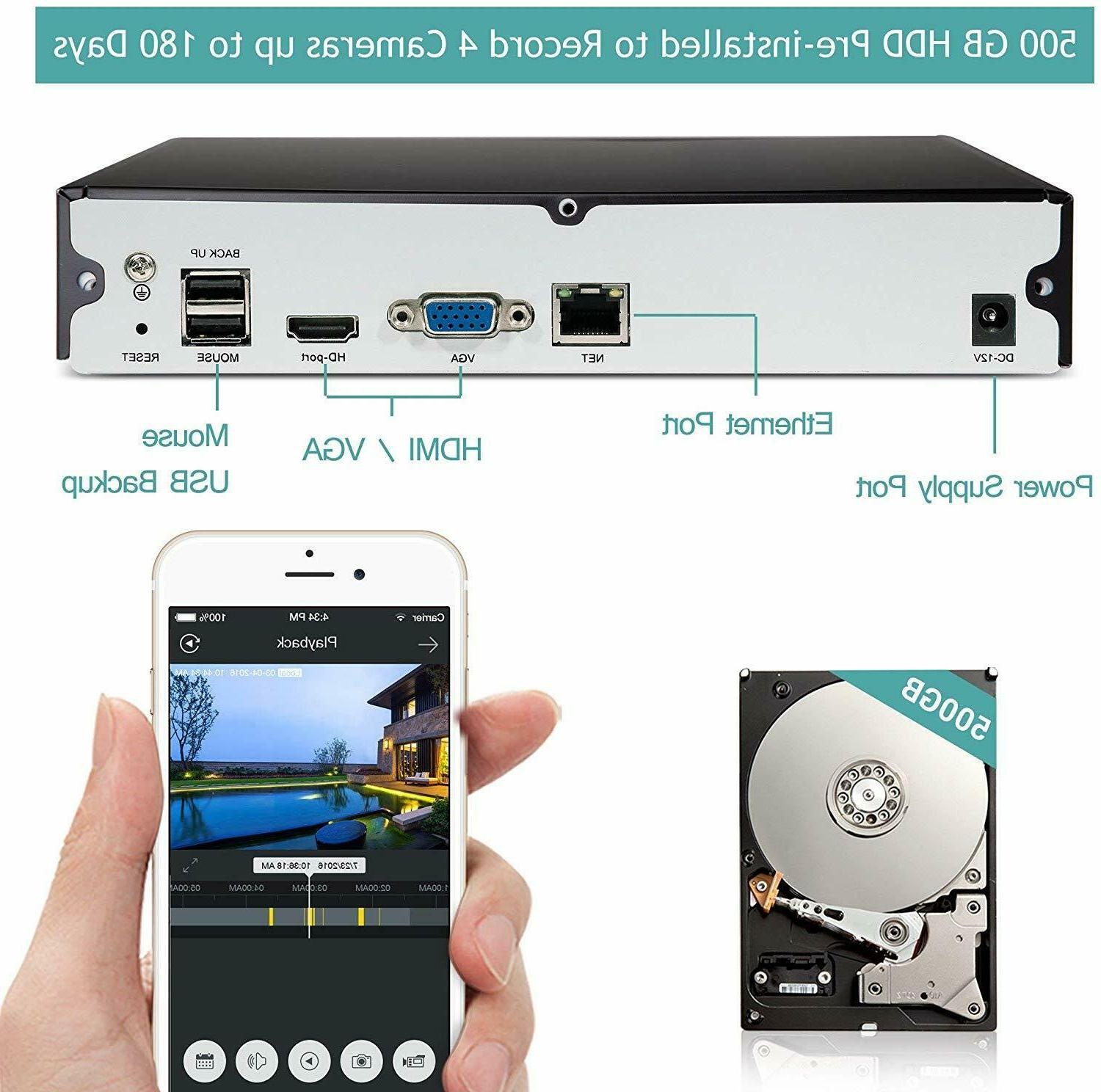 Funlux 4 Channel 1080p HDMI NVR HD Indoor Outdoor Home