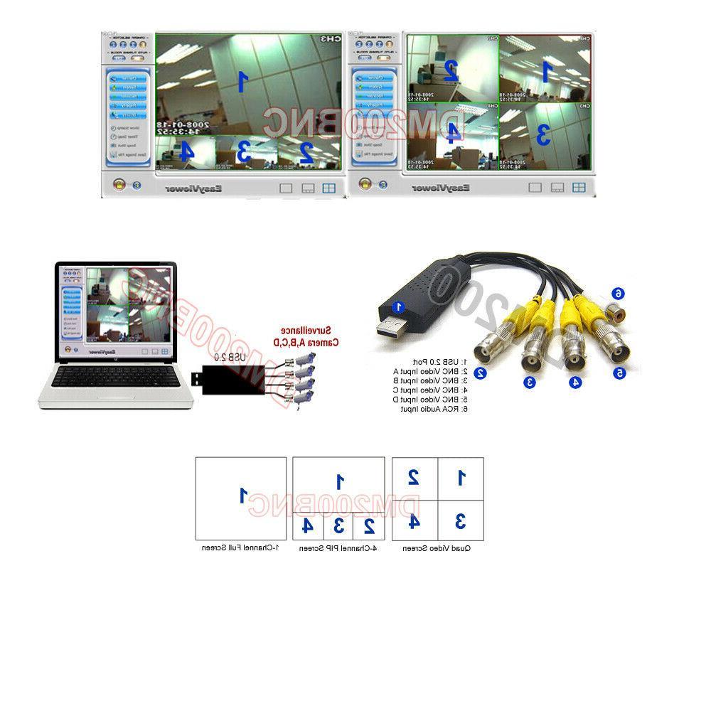 Quad BNC/RCA To USB Video Grabber Camera Video Switcher WinX