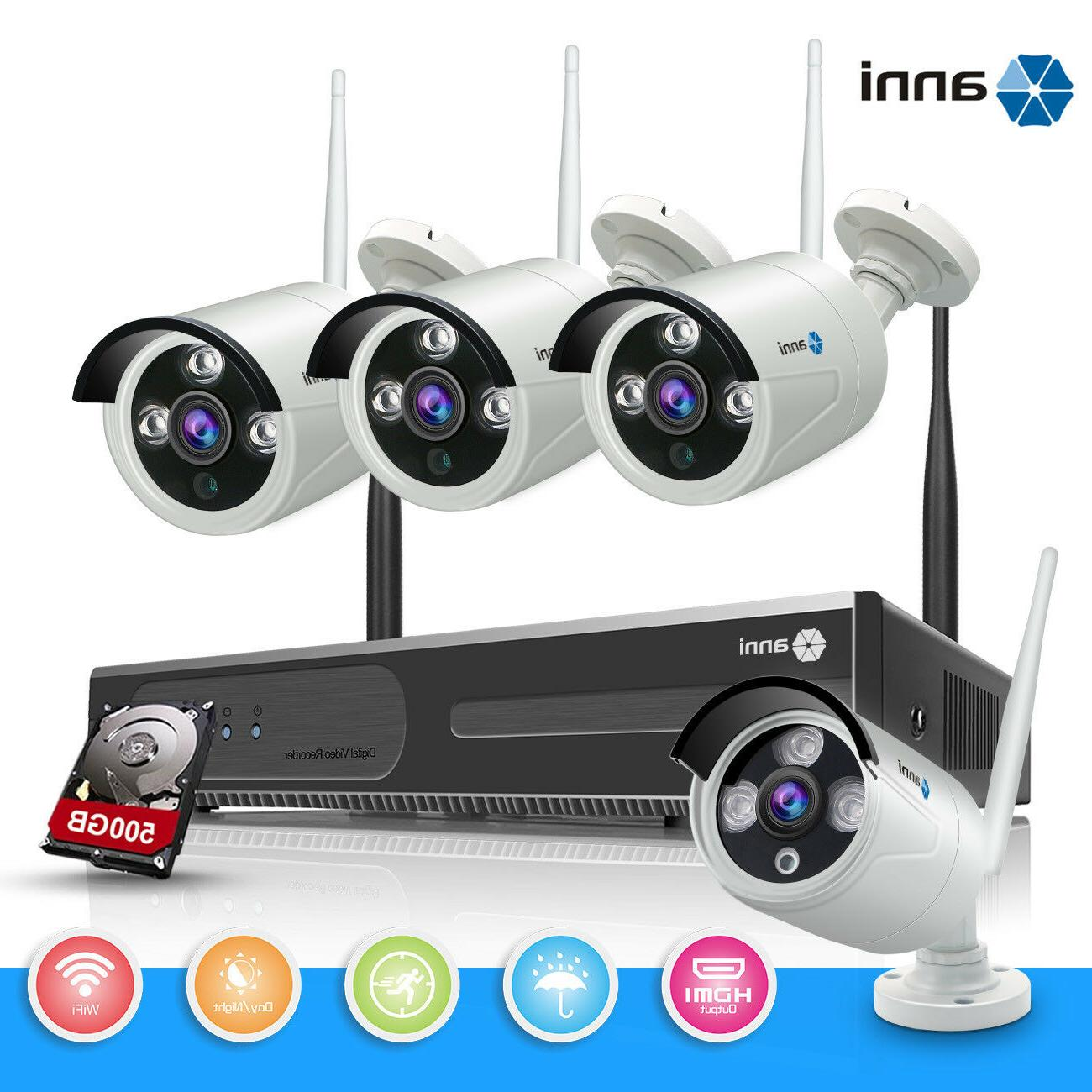 ANNI 4CH Wireless Security Camera System 720P 1.0MP NVR WIFI