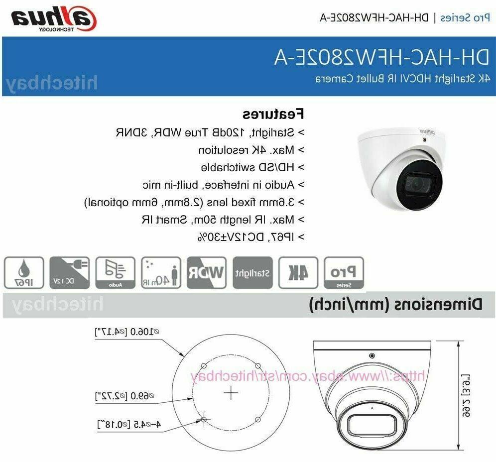Dahua 8MP HDCVI Eyeball CCTV Camera WDR 2.8mm