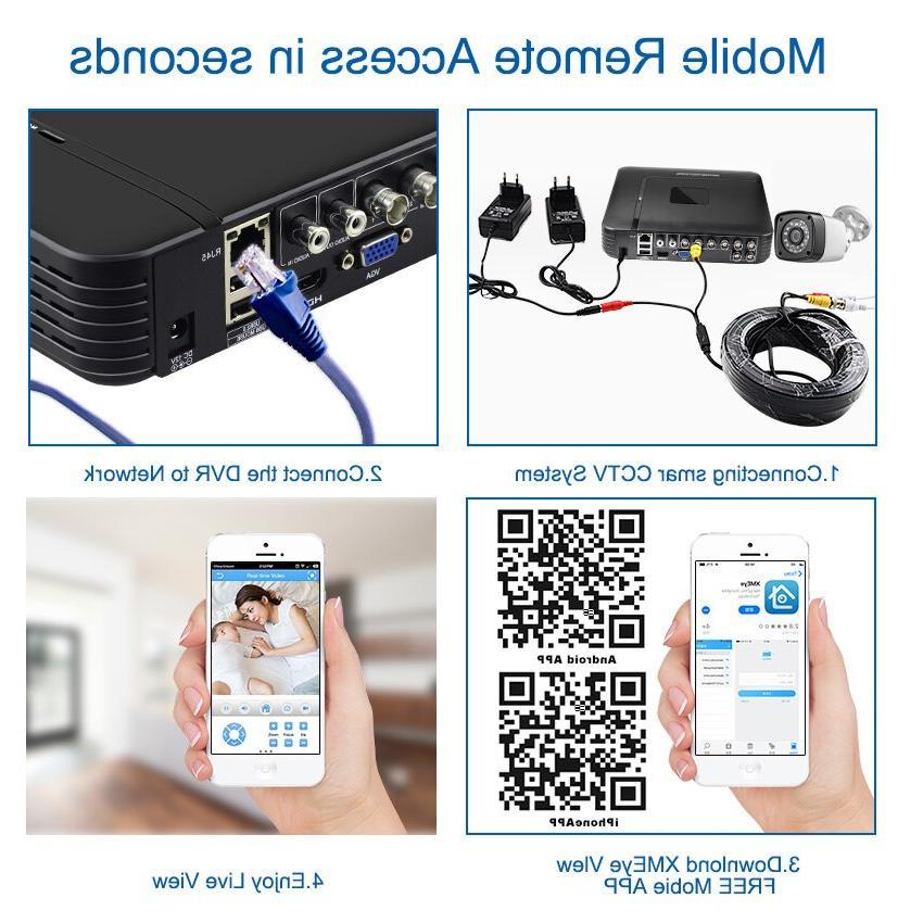 4pcs 4CH AHD DVR <font><b>Camera</b></font> System <font><b>Camera</b></font> <font><b>Video</b></font> System Vision