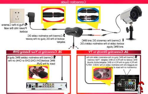 8x BNC power cable CCTV surveillance cord