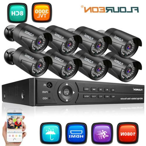 8CH 1080P 1080N AHD DVR CCTV Kit 3000TVL Camera System Secur