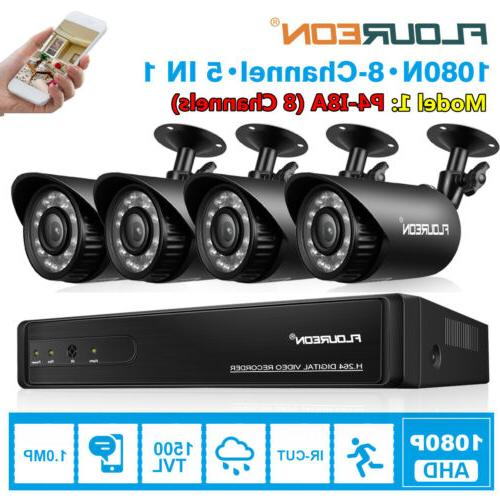 4CH/8CH 1080N DVR 1500TVL Cameras Home CCTV Security Surveil