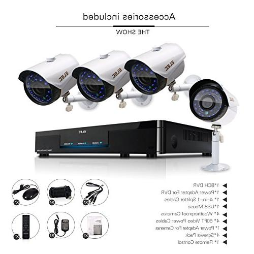 ELEC 8CH DVR 720P Video Security 1800TVL Surveillance Kit, iOS Android APP, Email Alert, IR Drive