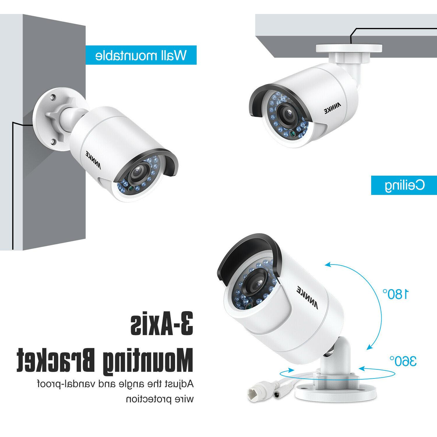 ANNKE 8CH 8MP NVR POE 1080P Outdoor IP CCTV Security