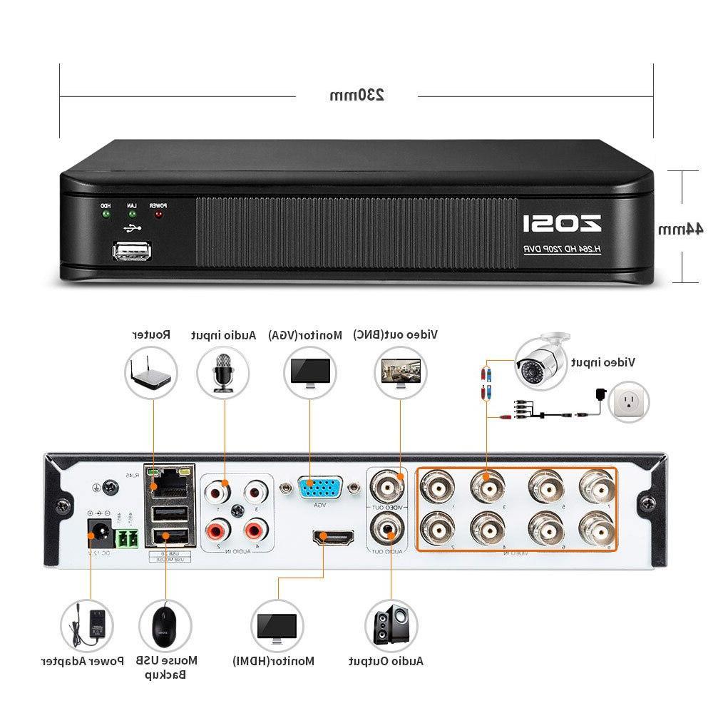 ZOSI 8CH CVBS AHD <font><b>Video</b></font> <font><b>Security</b></font> System DVR 1TB Surveillance <font><b>Camera</b></font>