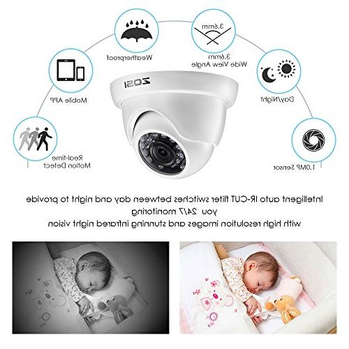 ZOSI 720p Security System,1080P Video Recorder and 1.0MP Weahterproof Cameras