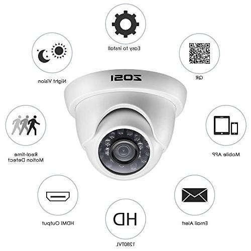 ZOSI HD-TVI Security Camera Video and 1.0MP Day Weahterproof Dome Cameras