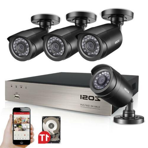 ZOSI 8CH 1080N DVR 1TB HDD Outdoor 720p Home Surveillance Se