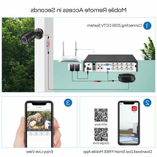 ZOSI 1080p Outdoor Camera for 8CH Lite Remote