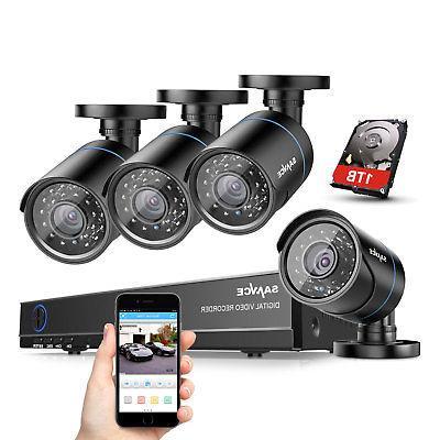SANNCE 8CH 1080P HDMI DVR Outdoor Home Video 1500TVL Securit