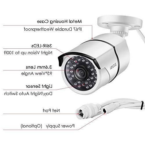 ZOSI Full HD PoE Security System,8CH 8x2.0 Megapixel Weatherproof IP Hard Drive, Ethernet