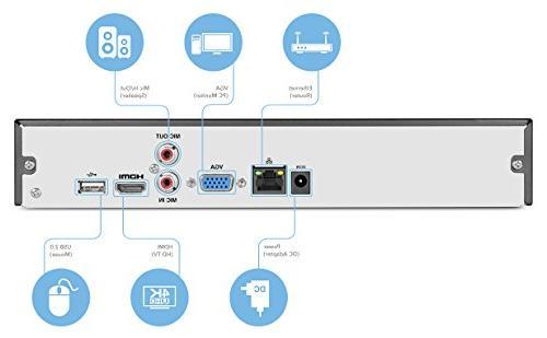 Amcrest Camera System, NVR, x 4-Megapixel Weatherproof WiFi Cameras, Lens, Hard Included, NV4108-HS-IP4M-1026B4