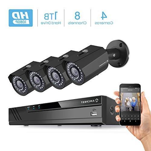 Amcrest 2-MP  4Ch POE NVR Kit  w/ 4 x 2.0MP Bullet Camera