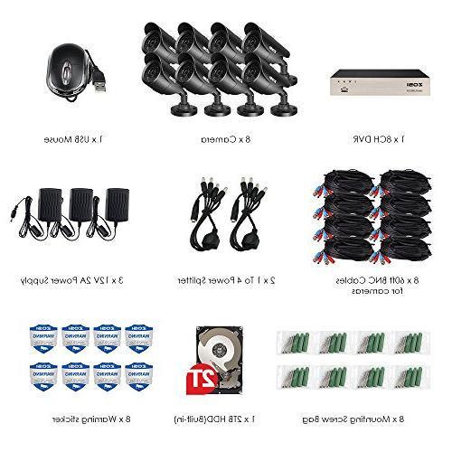 ZOSI HD-TVI Channel and Weatherproof CCTV IR LEDs Night Hard Drive