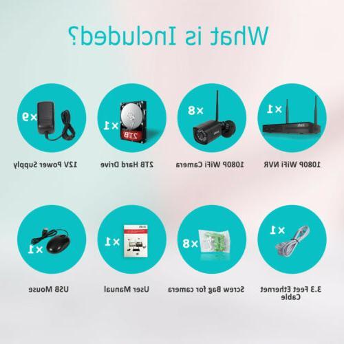 Zoohi Security Camera System Wireless CCTV 4/8CH