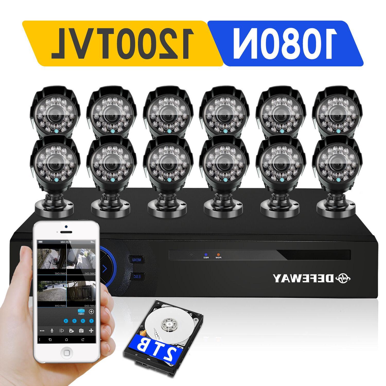 DEFEWAY 16CH 1080N HDMI DVR 12CH 1500TVL Outdoor Home Securi