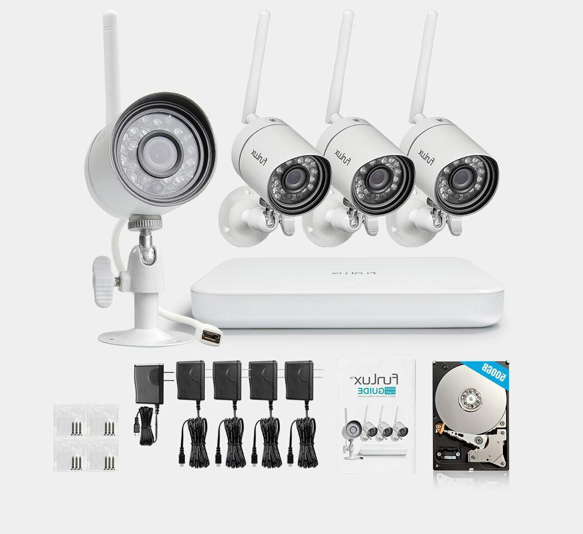 Funlux 4CH HDMI 4 Video Cameras System 500GB HDD