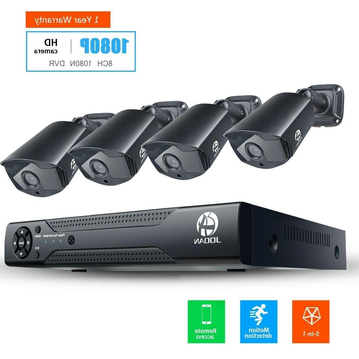 JOOAN 2MP TVI Security Camera System 4 X 1080P Weatherproof