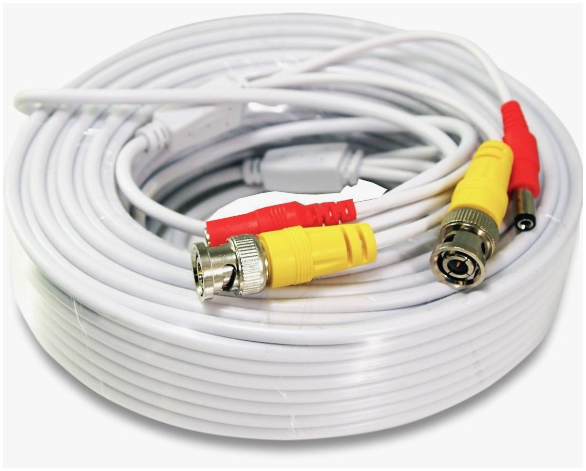 Security Camera Cable Wire CCTV Video Power 100 FT 30M BNC R