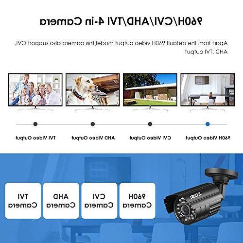 ZOSI 1280TVL 4-in-1 HD TVI/CVI/AHD/CVBS 3.6mm Lens CCTV Home Security Day/Night Camera 960H/ 720P / 1080N / Analog Systems