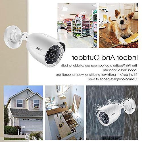 ZOSI 720P Security Camera HD-TVI CCTV and 1.0MP Night Indoor/Outdoor Bullet Cameras