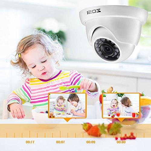 ZOSI 8-Channel 720p HD-TVI Security Video and 1.0MP Day Night Weahterproof Dome