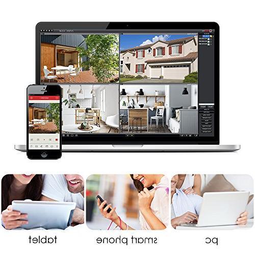 ZOSI 8-Channel Lite Video Security Camera System,4 1 DVR 1.0MP Indoor/Outdoor Weatherproof Cameras