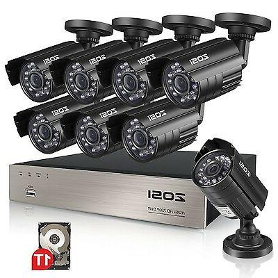 ZOSI 8-Channel HD-TVI Video System CCTV 1TB Drive Indoor/Outdoor 2.0MP Security Camera System, PC