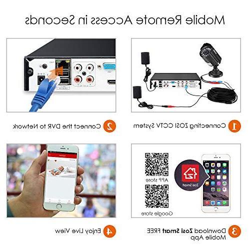ZOSI 8CH System 1080P Video 4X 1920TVL Indoor Outdoor Cameras Alert, Smartphone, Easy Remote