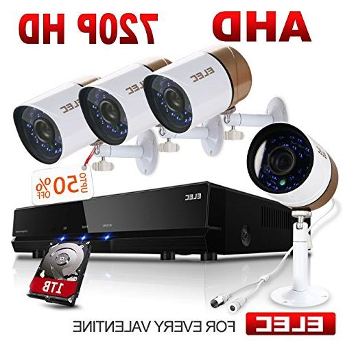 elec ahd 720p 8ch 4cam dvr video surveillance security camer