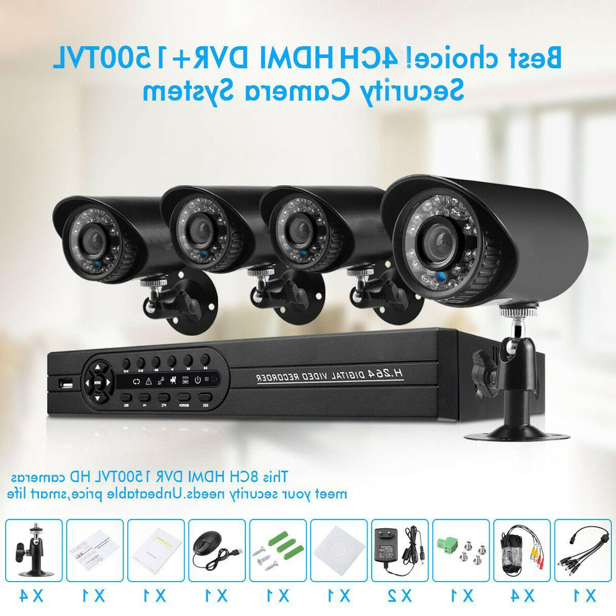 House Security Camera System 1080N DVR Pack 1500TVL