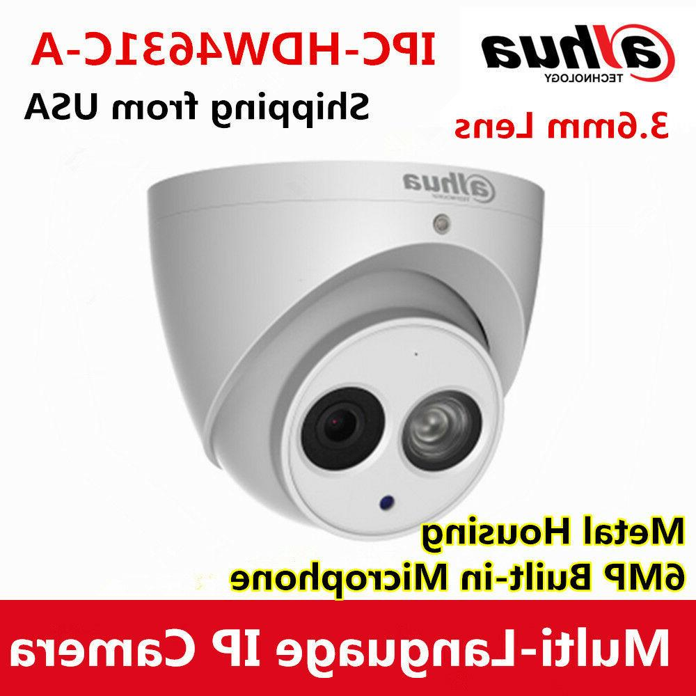 DaHua IPC-HDW4631C-A 6MP POE Mic IP67 Metal Turret Security IP Camera H.265 2.8m