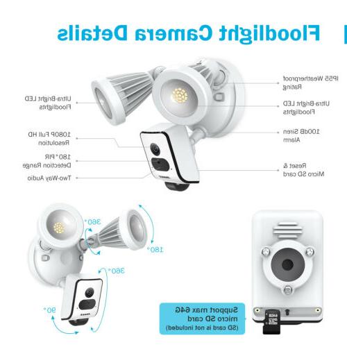 ANNKE 1080P Floodlight Security Camera Motion-Activated 2-Way Talk Siren