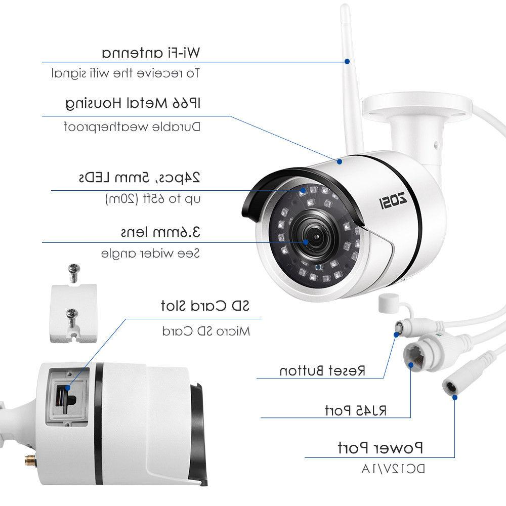 ZOSI WIFI IP Camera Outdoor Security Bullet IR Night Vision