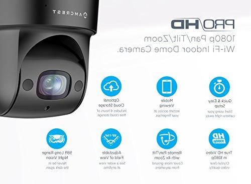Amcrest PTZ 1080P IP Camera, 98ft Night Pan/Tilt/4x 116° Viewing Black