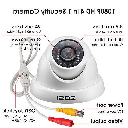 ZOSI 4 Pack 1080p Dome Camera Security Dome Camera 1080p Vision to 65FT