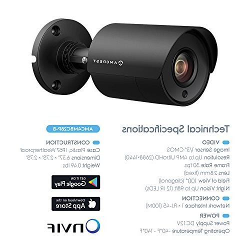 Amcrest 8CH Home Camera with x Weatherproof Cameras, 4MP DVR w/Pre-Installed Hard Drive, Vision, BNC Cables