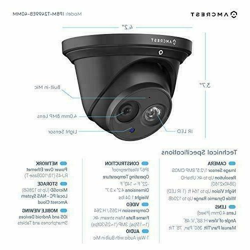 Amcrest Security IP Camera, 3840x2160,