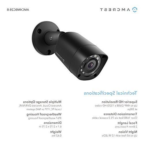 Amcrest UltraHD 4MP 1520P 2688TVL Security Camera, Weatherproof, Viewing Black