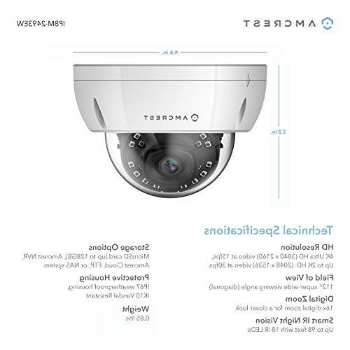 Security IP Camera, 3840x2160, Lens, Vandal Resistant MicroSD