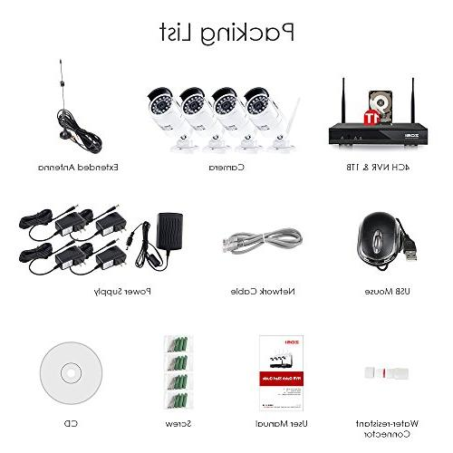 ZOSI FULL Wi-Fi Wireless Security System NVR Drive HD Night Motion