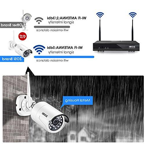 ZOSI Wi-Fi Wireless Security Camera System 4CH HDMI NVR 1TB Drive 1080P IP Night Vision,Customizable Motion Detection