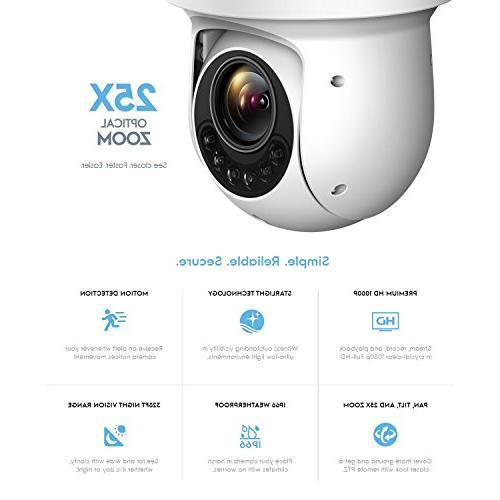 Amcrest 1080P WiFi PTZ IP Pan Tilt Zoom Security Camera 328ft Vision, Weatherproof, IP2M-858W