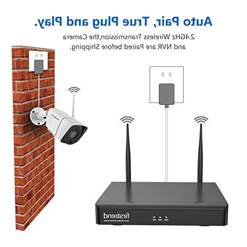 Wireless Camera System, 8CH 1080P Wireless NVR with 4pcs IP Security Camera Vision and View,P2P CCTV Camera