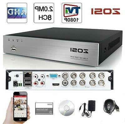 ZOSI 8CH HD-TVI 1080P Lite Video DVR Standalone H.264 Record