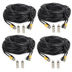 Masione 4 Pack 100ft BNC Video Power Cable Security Camera W
