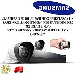 NEW SAMSUNG SDH-P4021 2 X IP66 1080P Cameras 8 CHANNEL 2TB H